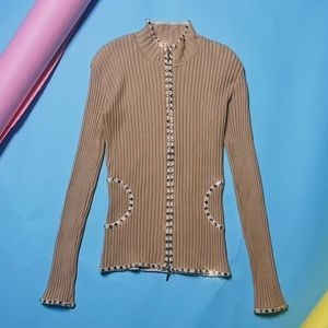 vintage rhinestoned zip up sweater